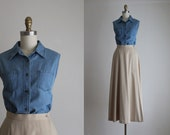 sleeveless denim blouse