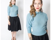 Vintage 1950's Baby Blue Bad Girl Sweater/ 50's Blue Wool Sweater Blouse Size Medium