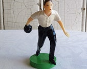 Vintage Man Bowler Cake Topper in Original Bag - Male Bowler Button Down Shirt - New Old Stock, NOS - Kitschy 1960s Plastic