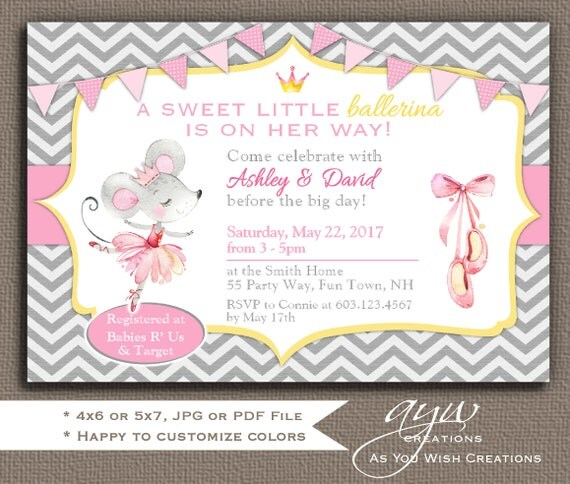 Mouse baby shower invitation girl mouse ballerina baby shower il570xn filmwisefo