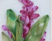 Beautiful Pink Alpinia Silk  Ribbon Embroidered card by Inna Bird