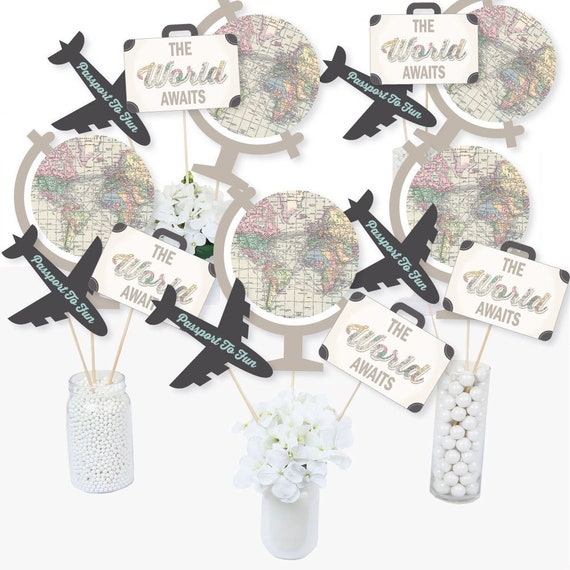 world awaits centerpiece sticks travel themed party table