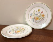 "Four Corelle Meadow 10"" Dinner Plates"