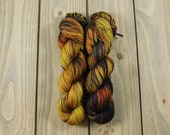 Crabapple, QCC Yarn, Squooshy Cat Yarn, Fingering Weight Yarn, Merino Wool, Brown, Hand Dyed