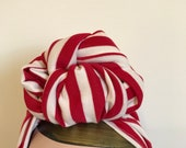 Full Coverage Red/White Stripe 1940s Style Turban/Headscarf with Slouchy Knot.
