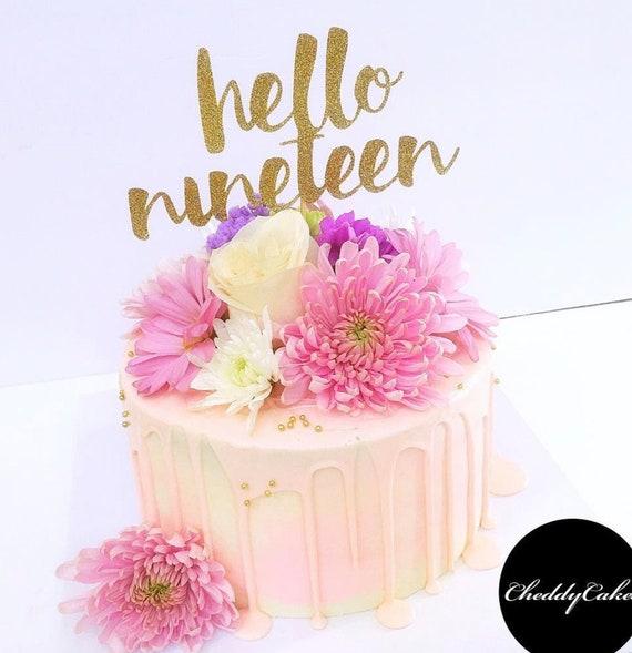Hello 19 Cake Topper Number Cake Topper 19th Birthday Birthday