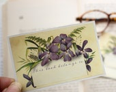 violet bookplates- floral book plates - ex libris - gift for book lovers - custom bookplate stickers - bookworm for her - gifts under 20