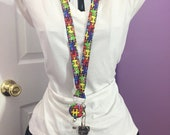 Autism Awareness Lanyard/I.D. Holder/Badge Holder/Gifts for Her/Teacher Gifts by Allica Designs Free Shipping in the US