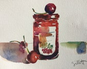 "Cherry confiture, Italian style, original watercolor, size: 6"" x 8"", Canson paper"