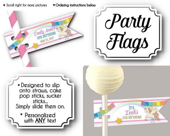 12 Flags For Straws Cake Pop Or Sucker Sticks Unicorns Rainbows