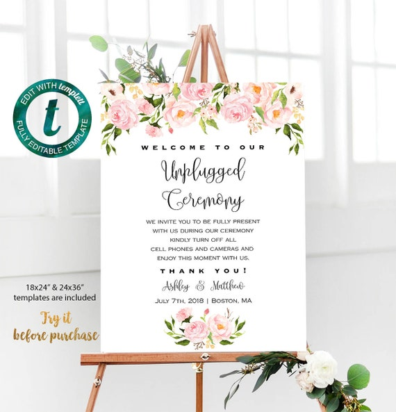 All Editable Blush Pink Floral Large Sign Template Printable