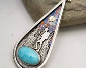 Night Hike Pendant Necklace Turquoise Sterling Silver 14k Gold Blue Moon Turquoise hiker camping jewelry by Delia Stone