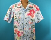 Cotton Kimono Hawaiian shirt, flowers, yukata fabric, Men, US size L