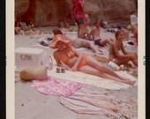 Vintage Photo Sexy Older Woman in Orange Bikini Laying on the Beach 1970's, Original Found Photo, Vernacular Photography