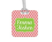 Personalized Bag Tag - Custom Backpack Name Tag - Coral Lime Back to School