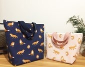 Insulated lunch bag/ waterproof lunch bag/kids lunch bag/lunch bag for women/fox print/animal print /japanese fabric/ Korea fabric