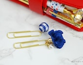 Royal Blue Satin Flower and Plaid Pom Pom Paper Clips Planner Accessories Travelers Notebook