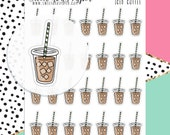Iced Coffee Stickers - Coffee Planner Stickers - Doodle Planner Stickers - Hand Drawn Stickers - Latte Stickers - 887