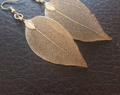 Real leaf earrings, 18 K gold leaf earrings,  gold dipped leaves, natural jewelry, woodland jewelry, wedding jewelry, gift for girlfriend