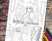 Coloring Page - Digital Stamp - Printable - Fantasy Art - Witch - Halloween - Stamp - Adult Coloring Page - Bettina - by Nikki Burnette