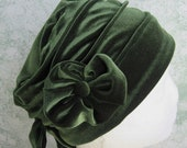 reserved for S Mobley Womens Moss Green Velveteen Hat With Flower And Button Trim Fits Head Size 21 Inch