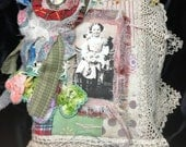 GIRLS KITTENS, Kitties, Cats,  Mixed Media Fabric Collage Book Vintage Antique Lace silk quilt Christening Dresses vintage quilt crochet