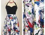 25% Off SALE 80s Binders Sportswear Pop Art Paint Stroke Multicolor A-line Full Skirt, Size Small to Medium