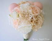 Disney Wedding Ivory and Blush Pink Mickey Ear Bouquet with Pearl Accents