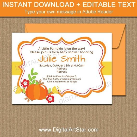 Little Pumpkin Baby Shower Invitation Pumpkin Invitation First