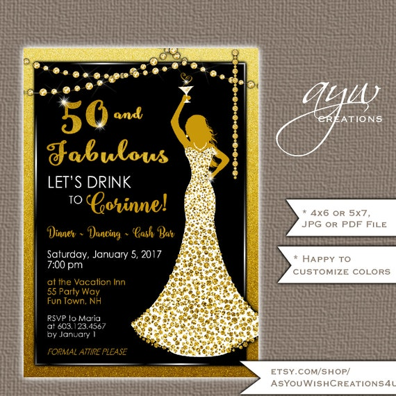 50th birthday party invitations woman bling dress 40th womans il570xn filmwisefo