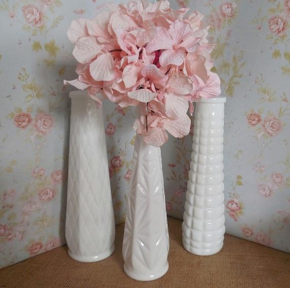 3 Milk Glass Bud Vases White Vases Vintage Milk Glass Vase