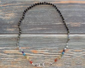 """22.5"""" Rainbow in the Storm Healing Gemstone Necklace Knotted on Nylon with Sterling Silver Findings Healing Crystals, Infused with Intention"""