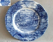 Vintage Enoch Wedgwood Dickens Coaching Days Blue and White Earthenware Dinner Plate c.1970's