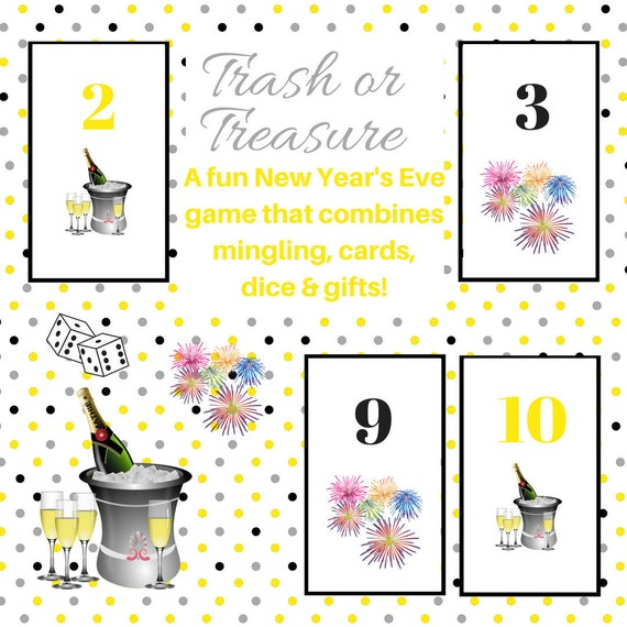 New Years Eve Trash or Treasure Printable Dice & Card Game Large ...