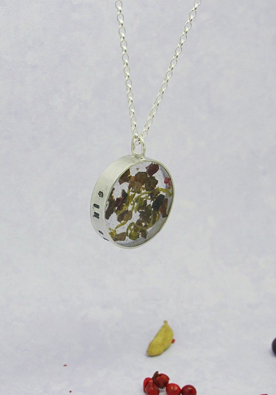 Gin Glorious Gin, Gin inspired sterling silver necklace with gon botanicals set in clear resin, eco recycled silver, long pendant