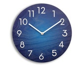 Blue wall clock. Wood wall clock.  Numbers clock. Navy blue clock. Modern wall clock. Contemporary wall clock. Ombre wall clock. CL6032