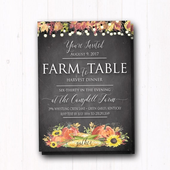 Fall dinner party invitation farm to table invite dinner party il570xn stopboris Image collections