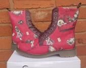 Alice in wonderland, alice in wonderland shoes, original Alice in wonderland, custom shoes, women boots, gift for her, vegan leather, blue