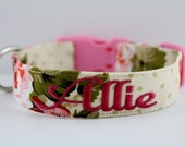 Vintage Blooms Collar, Flower Dog Collar, Floral Collar, Custom Dog Collar, Personalized Dog Collar, Embroidered Collar, Girly Dog Collar