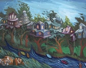 Tigers and Tree Houses Night Forest Landscape, 8x10 Fine Art Print, Free shipping