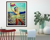 Unique Vintage Beach Decor, Beach House Art, Wife Gift, Mom Gift Summer Vacation Beach Decor Art Beach Art Life is Short Buy the Beach House