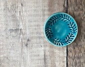 Ceramic Incense Burner, Teal Ring dish, Botanical Pattern, Floral Dish, Pottery Candleholder, Altar Dish, Blue Bowl, Mini Bowl.