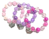Toddler or Girls Big Sister, Middle Sister, Little Sister Charm Bracelet - Pink Sister Bracelet - Purple Sis Charm Bracelet - Sister gift