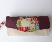 Postage Themed Women's Wallet, Cork Wallet, Clutch Wallet, Snail Mail Wallet, Vegan Wallet, Gift for Her, Handmade Accordion Wallet, Stamps