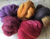 BOBB, dyed core wool leftovers for Needle Felting, 8 oz