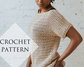 Summertime Tee Pattern // Crochet Tutorial Spring Summer Mesh Top Short Sleeve Ribbed Wide Neck T-Shirt Casual Shirt Oversized Off Shoulder
