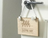 READY TO SHIP! Baby Sleeping Sign, door sign, sleeping baby hanging door sign, Baby Baby signs Shower Gift, mama to be, shhh do not disturb,