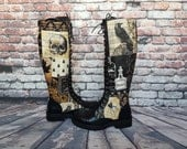 Steampunk, boots, women shoes, brown boot, nevermore, skull, crow raven, rock your sole, knee high boots, long boots, platform boots, hippy