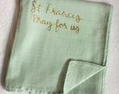 St Francis Catholic baby swaddling blanket - muslin double gauze