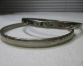 AGED and worn Mexico Silver Bangles and Bracelets LOT of 2 - 30 Grams .925 Silver Stamped Mexico Very Vintage Bangles - FREE Shipping!